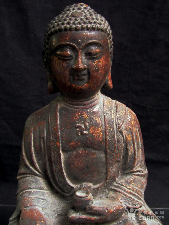 铜鎏金仰莲座佛像图2