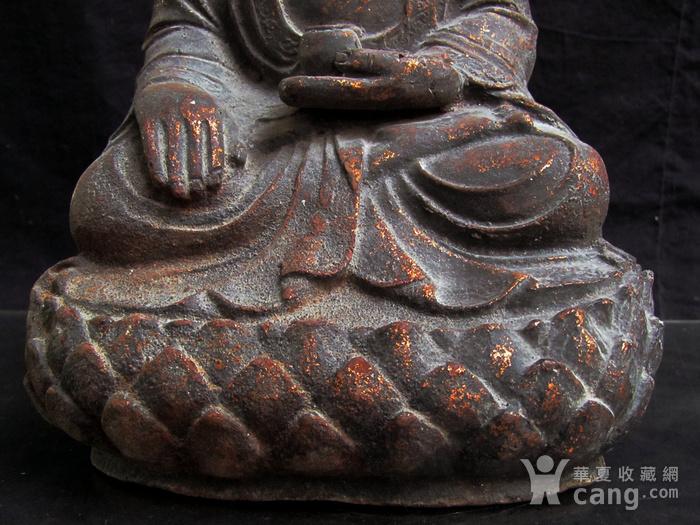 铜鎏金仰莲座佛像图3