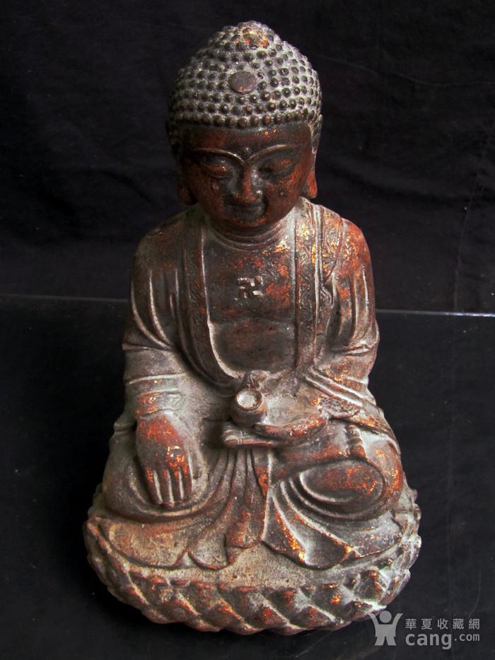 铜鎏金仰莲座佛像图4