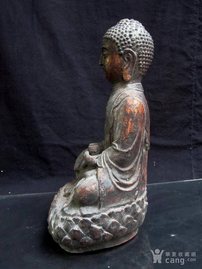 铜鎏金仰莲座佛像图5