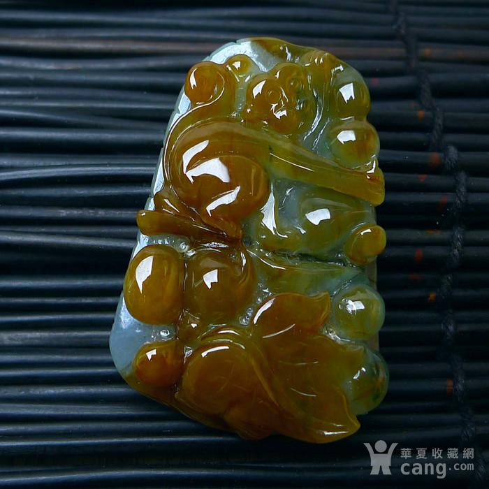 冰润带黄翡翡猴子祝寿吊坠图2