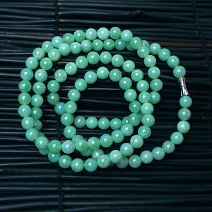 冰润满绿大圆珠项链