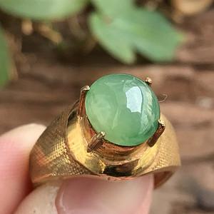 天然A货翡翠  冰透晴水绿铜镶蛋面戒指XB22