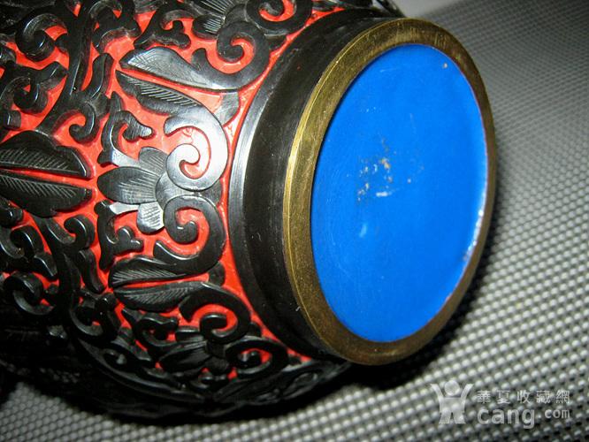 晚清铜胎剔红剔黑罐子图7