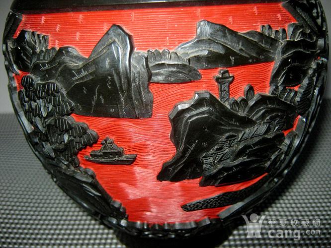 晚清铜胎剔红剔黑罐子图8