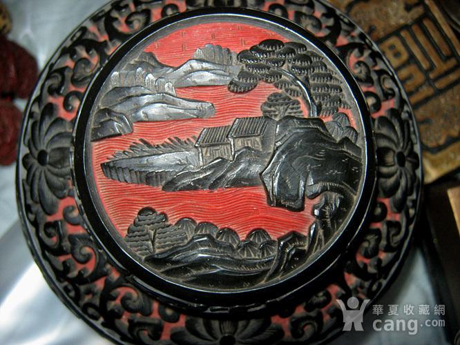 晚清铜胎剔红剔黑罐子图11