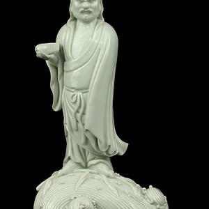 36清晚德化窑白釉渡海达摩像