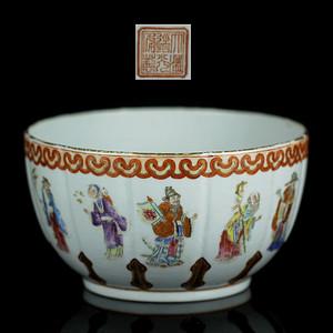 37清道光粉彩神仙人物纹莲瓣碗