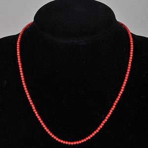 阿卡级红珊瑚圆珠小项链