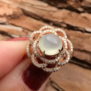 天然A货翡翠  18K金钻石玻璃种圆蛋面女戒指环 210