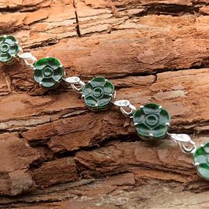 天然A货翡翠  18K金钻石冰种浓绿花开富贵手链 920