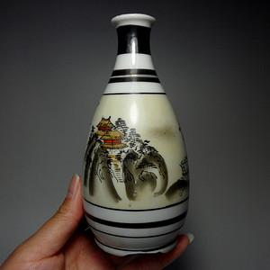 日本名品 九谷 瓷器!手绘山水风景人物纹酒壶!