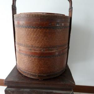 清代竹编提篮盒