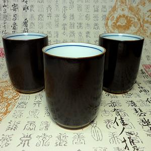日本回流!口金铁砂釉茶杯三个!