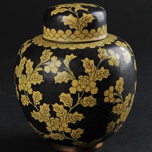 爆老墨地铜胎掐丝珐琅花卉纹罐