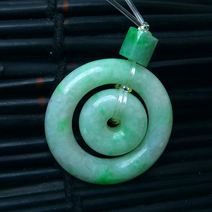 冰润绿母子平安扣吊坠