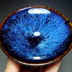 德化瓷漂亮蓝色窑变釉兔毫建盏茶盏!