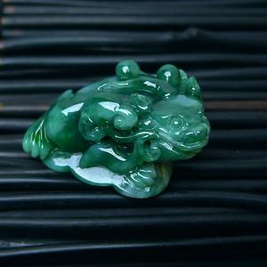 冰润满绿精雕三脚金蟾吊坠