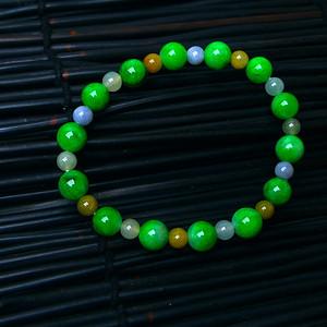 冰润三彩圆珠手链