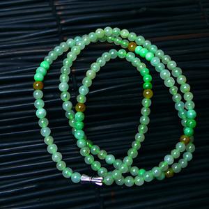 冰润三彩圆珠项链