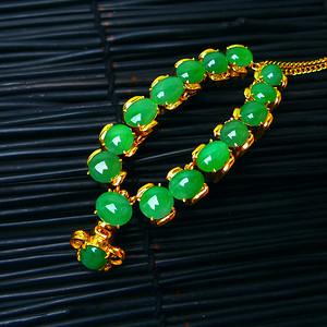 冰润满绿蛋型镶铜项链