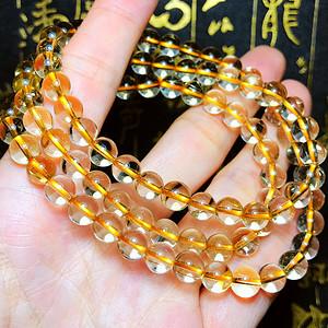 巴西AAA级纯净玻璃体天然金发晶钛晶水晶圆珠多圈手链