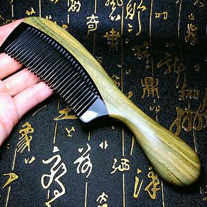 纯手工打磨镶嵌榫卯天然绿檀木黑牛角精品木梳!