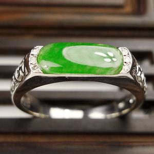 完美满绿钻戒!18K金镶6颗钻石天然缅甸A货翡翠冰种阳绿戒指