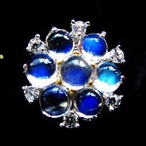 斯里兰卡极品全净玻璃体蓝月光天然AAA级月光石璀璨戒指!