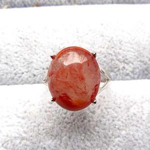 完美无裂!天然原矿四川凉山南红玛瑙冰种飘花胭脂红戒指!