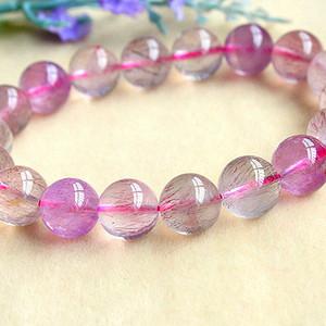 珍贵稀有紫发晶!纯天然无优化紫发晶草莓晶精美水晶手串!