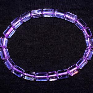 珍贵宝石!猫眼效应紫锂辉石纯天然无优化宝石手链!