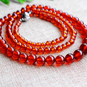 补血养颜!极品全通透玻璃体橙血红色石榴石项链!