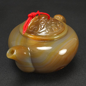 美国回流 巧雕 天然玛瑙 叶壶