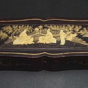 清代 描金朱沙金粉 漆器盒