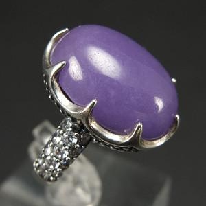 国外回流银镶嵌 天然紫翡翠 戒指
