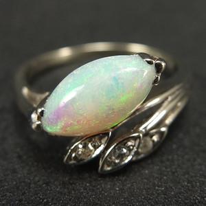 美国回流14K白金 天然欧泊镶嵌天然钻石 戒指