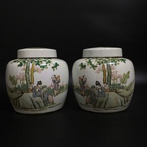 欧洲回流 粉彩茶叶罐