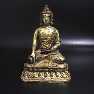 欧洲回流 铜鎏金佛像