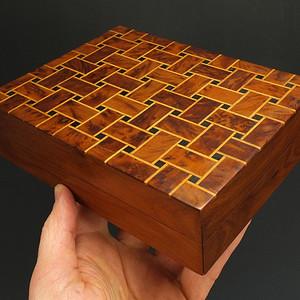 美国回流 名贵木镶嵌四方盒