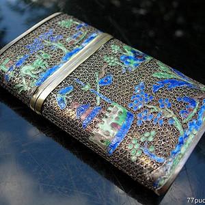 清晚银烧珐琅名片盒