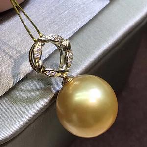 天然海水珍珠吊坠14k金扣