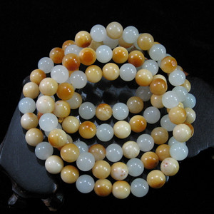珍藏 羊油黄沁籽玉108粒