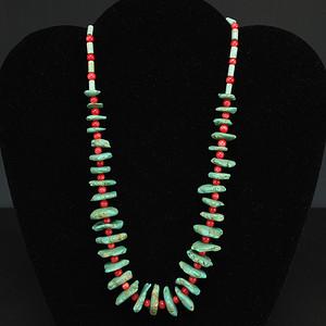 天然原矿绿松石镶嵌天然珊瑚 项链