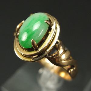美国回流 14K金 天然绿翡翠 戒指