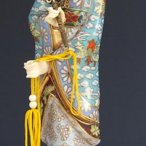 国外回流 铜胎掐丝珐琅 侍女 摆件