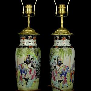 26民国粉彩人物纹瓶台灯一对