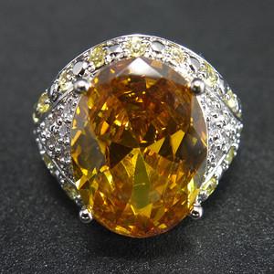 美国回流 925银天然黄水晶 戒指
