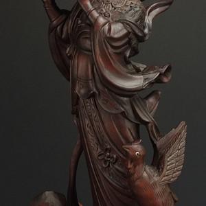 国外回流 清晚民初精雕  侍女木雕塑像摆件