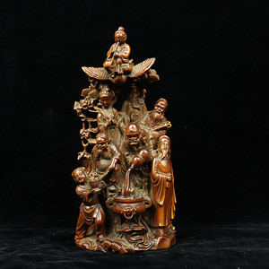 旧藏黄杨木雕八仙珊子摆件